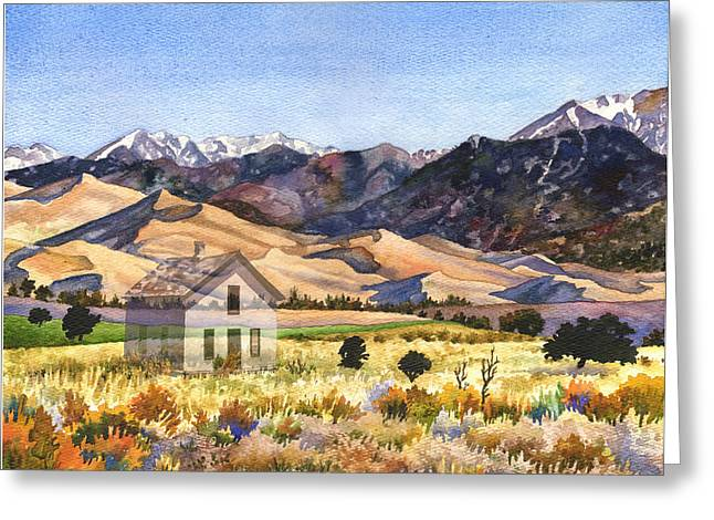 Abandoned Houses Digital Greeting Cards - Dust to Dust Sand Dunes Greeting Card by Anne Gifford