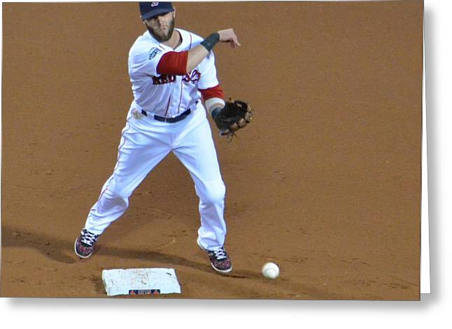 Dustin Pedroia Greeting Cards - Dustin Greeting Card by Judd Nathan