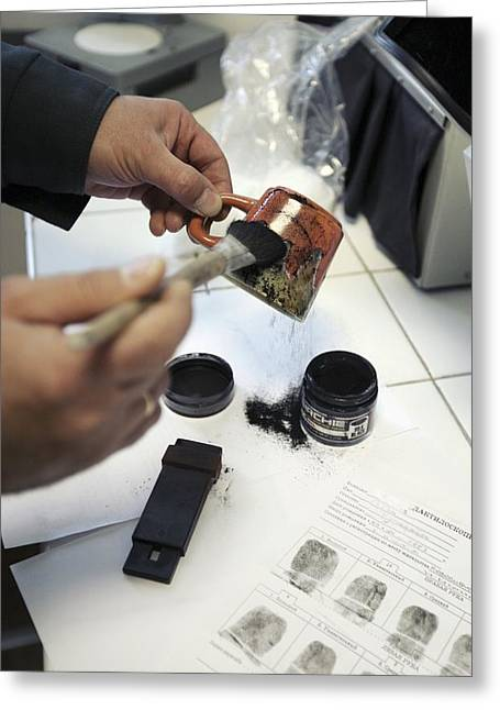 Suspect Greeting Cards - Dusting An Object For Fingerprints Greeting Card by Ria Novosti