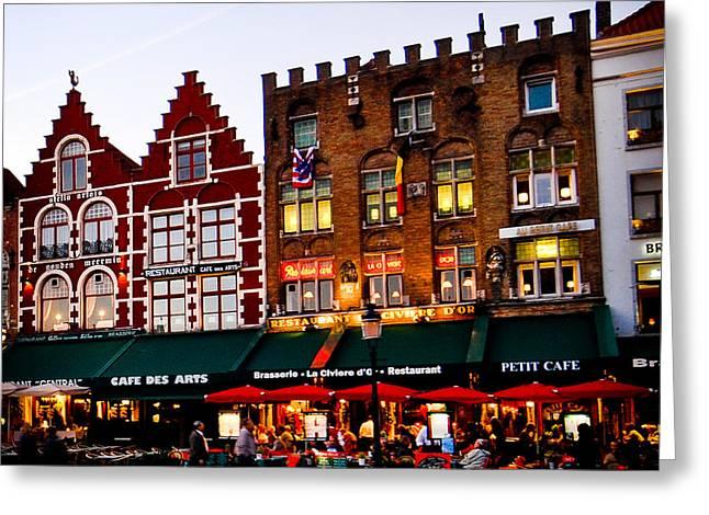 Night Cafe Greeting Cards - Dutch Cafes Greeting Card by David Waldo