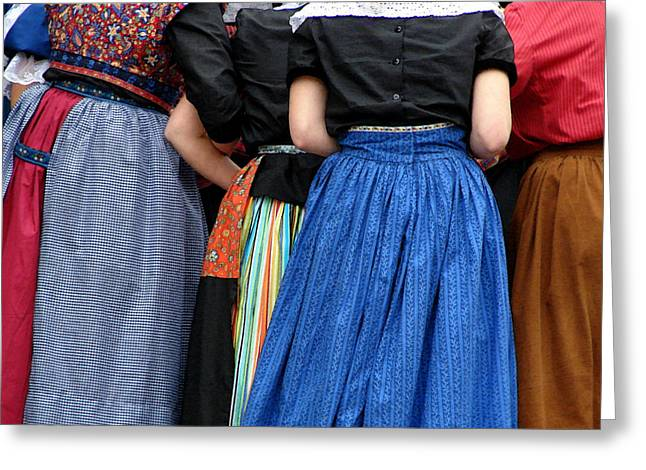Patterned Dress Greeting Cards - Dutch Dancers in a Huddle Greeting Card by Michelle Calkins