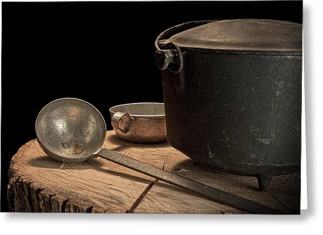 Black Top Greeting Cards - Dutch Oven and Ladle Greeting Card by Tom Mc Nemar