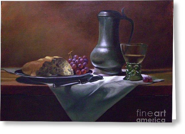 Pewter Jug Greeting Cards - Dutch roemer with bread and grapes Greeting Card by Tom Jennerwein