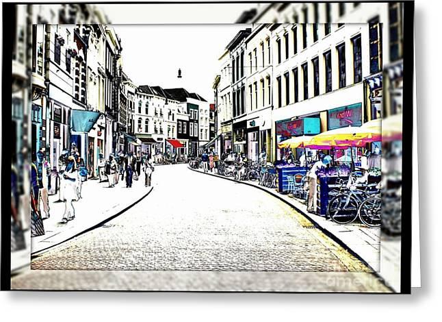 Dutch Shopping Street- Digital Art Greeting Card by Carol Groenen