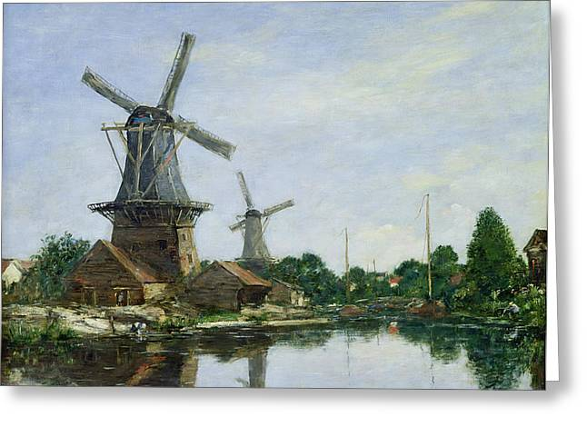 Austria Paintings Greeting Cards - Dutch Windmills Greeting Card by Eugene Louis Boudin