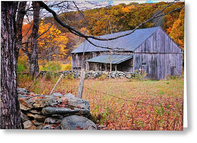 """autumn Foliage New England"" Greeting Cards - A Hidden Connecticut Rustic Barn-Autumn Scenic Litchfield Hills Greeting Card by Thomas Schoeller"