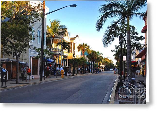 Susanne Van Hulst Greeting Cards - Duval Street in Key West Greeting Card by Susanne Van Hulst
