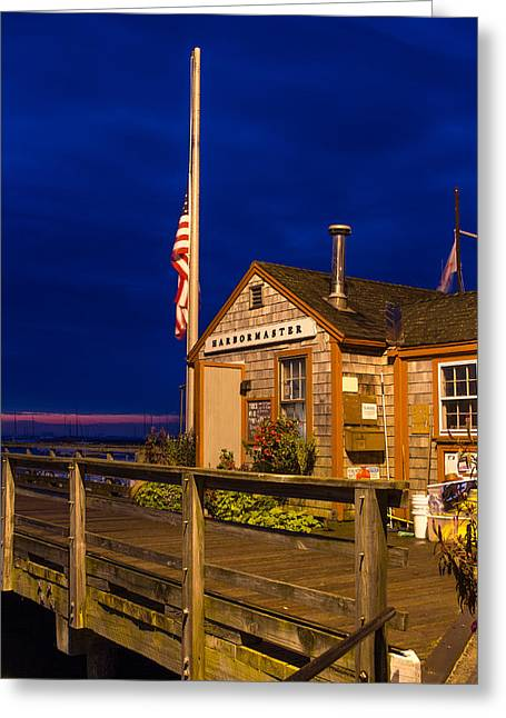Duxbury Greeting Cards - Duxbury Harbormaster at dawn Greeting Card by Lesa Hale