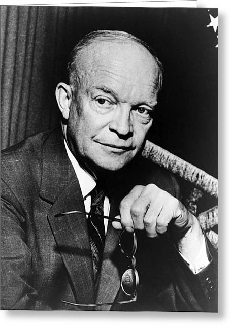 Dwight Eisenhower Greeting Cards - Dwight D Eisenhower - President of the United States of America Greeting Card by International  Images