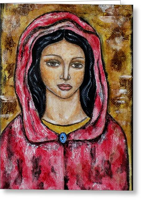 Religious Art Paintings Greeting Cards - Dyanne Greeting Card by Rain Ririn