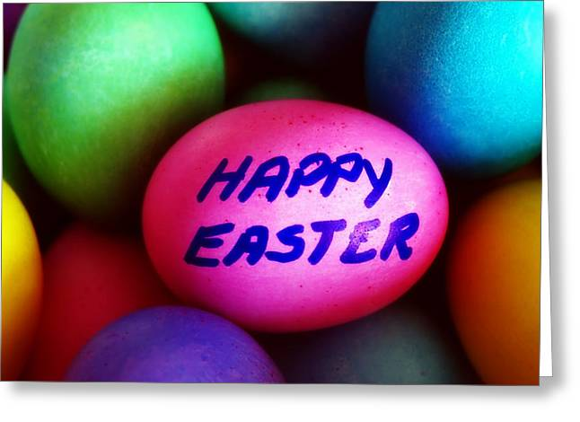 Crafts For Kids Greeting Cards - Dyed Easter Eggs - Happy Easter message Greeting Card by Steve Ohlsen