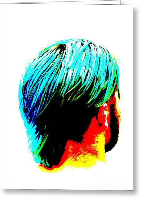 Coif Greeting Cards - Dyed Hair Man Greeting Card by Susan Stevenson