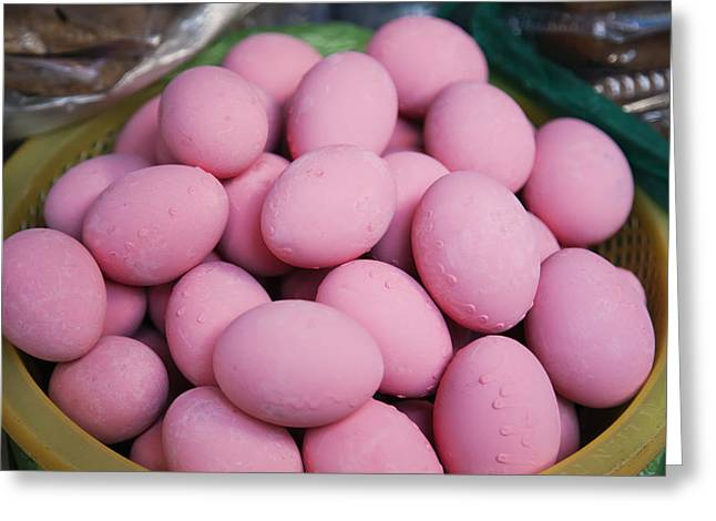 Asian Market Greeting Cards - Dyed Poached Pink Eggs At The Central Greeting Card by Roberto Westbrook