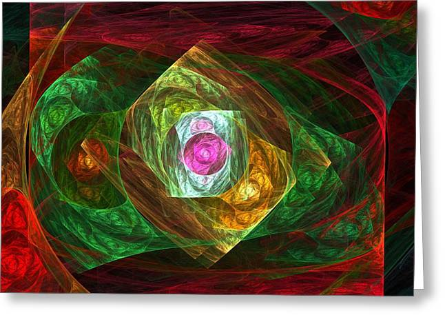Modern Digital Art Digital Art Greeting Cards - Dynamic Connections Greeting Card by Oni H