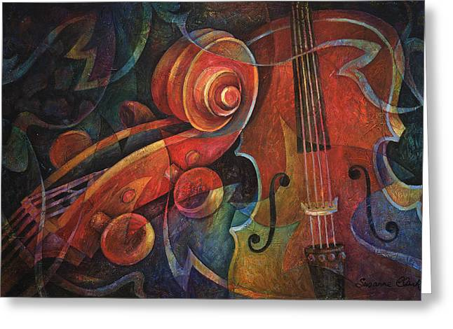 Red Art Greeting Cards - Dynamic Duo - Cello and Scroll Greeting Card by Susanne Clark