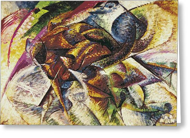 Bike Race Greeting Cards - Dynamism of a Cyclist Greeting Card by Umberto Boccioni