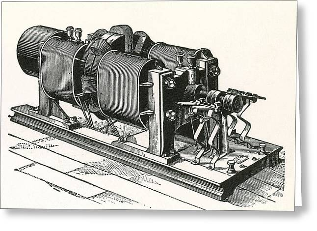 Dynamo Electric Machine Greeting Card by Science Source