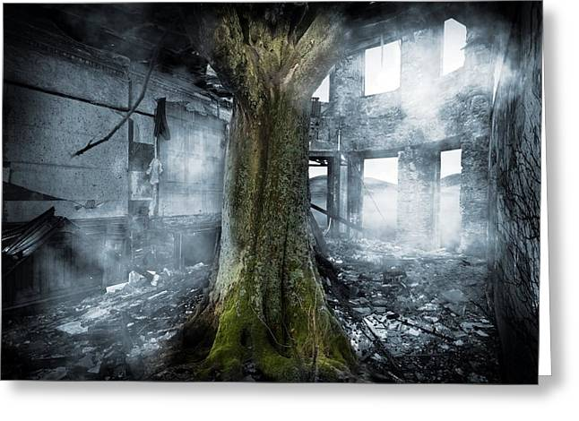 Take Over Greeting Cards - Dystopia, Conceptual Artwork Greeting Card by Victor Habbick Visions