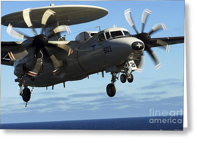 Ap Greeting Cards - E-2c Hawkeye Approaches The Flight Deck Greeting Card by Stocktrek Images