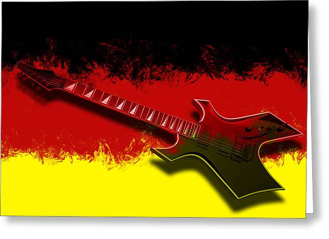 String Art Greeting Cards - E-Guitar - German Rock II Greeting Card by Melanie Viola