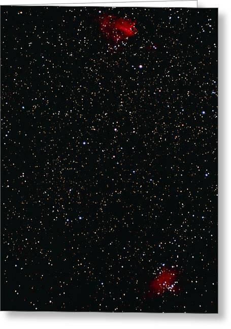 Eagle And Omega Nebulae Greeting Card by John Sanford
