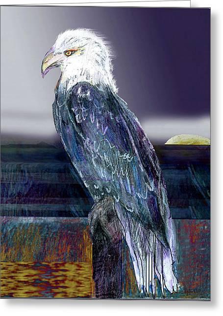Eagles Pastels Greeting Cards - Eagle at Sunset Greeting Card by Lydia L Kramer
