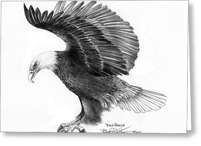 Bengal Drawings Greeting Cards - Eagle attacking Greeting Card by Bob Patterson