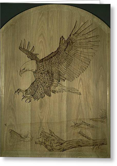 Stream Pyrography Greeting Cards - Eagle Door Panel Greeting Card by Angel Abbs-Portice