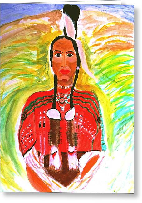 Polution Greeting Cards - Eagle Feather Native American Greeting Card by Stanley Morganstein