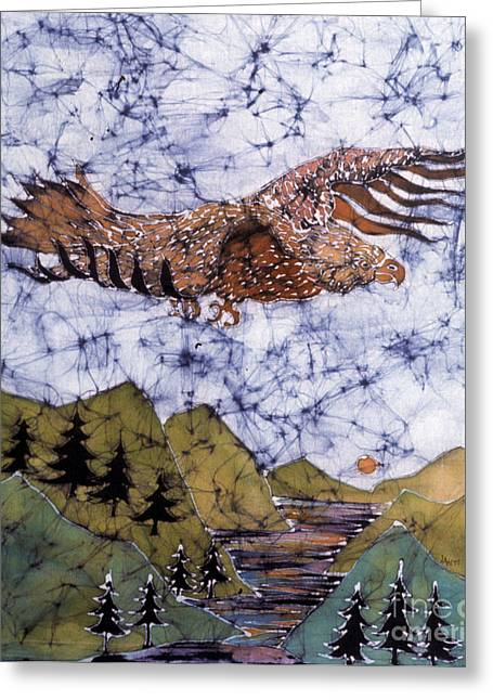 Flying Tapestries - Textiles Greeting Cards - Eagle Flies Above Gorge Greeting Card by Carol Law Conklin