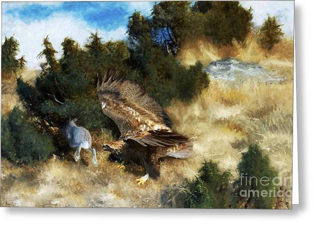 Hunting Bird Greeting Cards - Eagle Hunting Hare Greeting Card by Pg Reproductions
