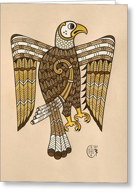 Knotwork Greeting Cards - Eagle Greeting Card by Ian Herriott