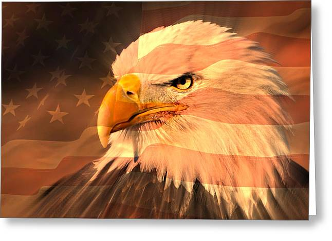 Eagle On Flag Greeting Card by Marty Koch