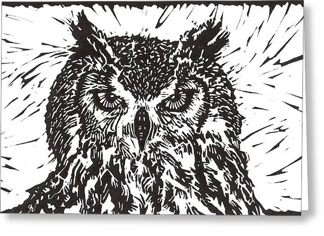 Lino Mixed Media Greeting Cards - Eagle Owl Greeting Card by Julia Forsyth