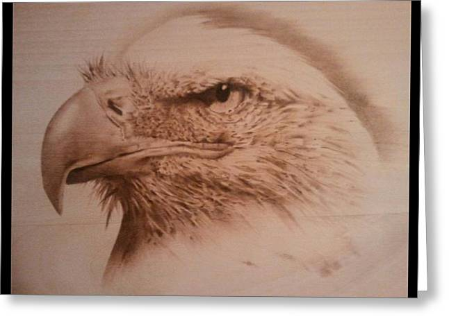 Power Pyrography Greeting Cards - Eagle Greeting Card by Rodney Balderas