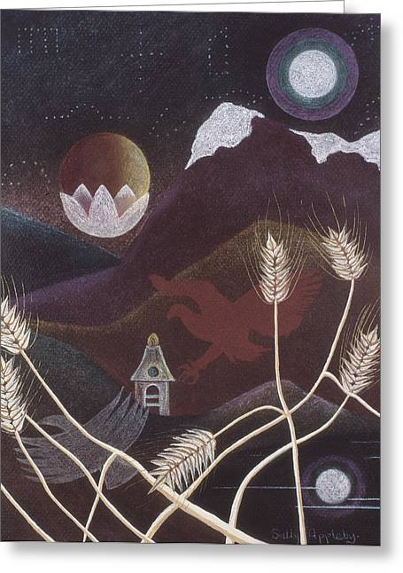 Eagles Pastels Greeting Cards - Eagle Shadow with Wheat Greeting Card by Sally Appleby