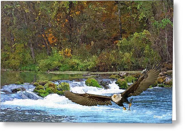Waterscape Mixed Media Greeting Cards - Eagle Snatch Greeting Card by Julie  Grace