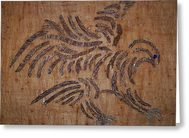 Unique Art Reliefs Greeting Cards - Eagle Tribal of Agar wood Greeting Card by Joedhi