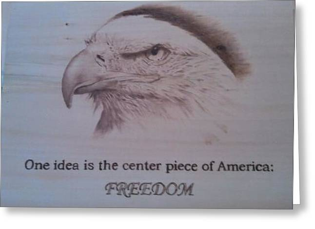 Woodburn Pyrography Greeting Cards - Eagle with quote Greeting Card by Rodney Balderas