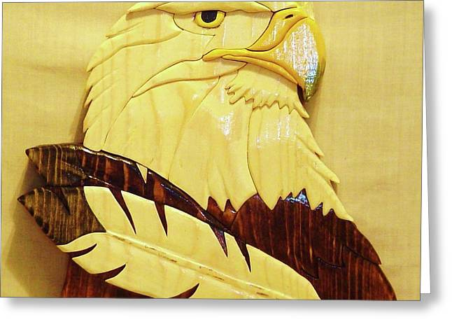 Intarsia Sculptures Greeting Cards - Eaglehead with Two Feathers Greeting Card by Russell Ellingsworth
