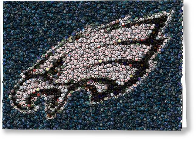 Phillies Mixed Media Greeting Cards - Eagles Bottle Cap Mosaic Greeting Card by Paul Van Scott