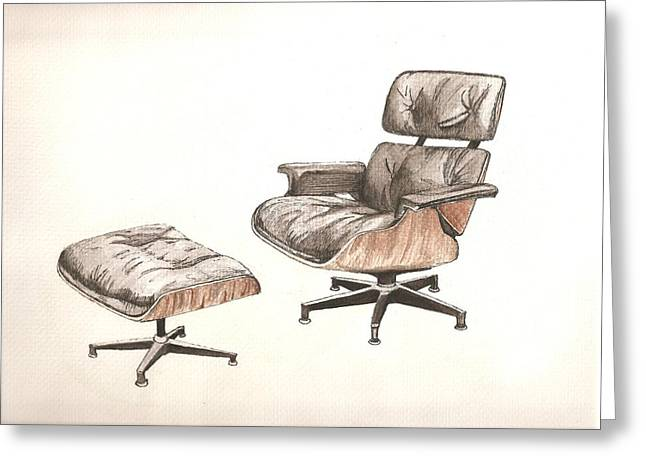 Foot Stool Greeting Cards - Eames Original Greeting Card by Brian Ashby