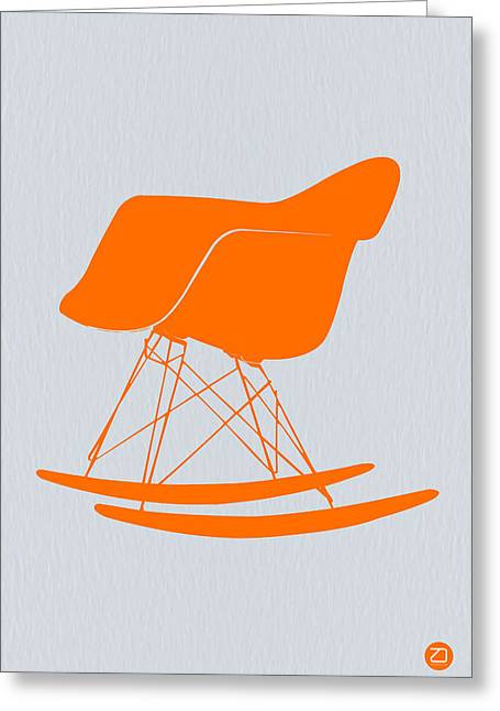 Dwell Digital Art Greeting Cards - Eames Rocking chair orange Greeting Card by Naxart Studio