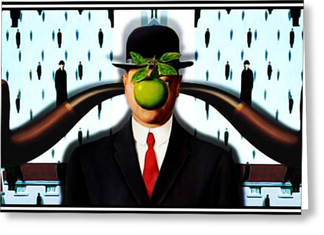 Magritte Greeting Cards - Ear Smoking Apple Guy Standing in the Man Rain Greeting Card by Gravityx Designs