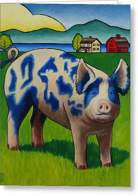 Pigs Greeting Cards - Earl of Whidbey Greeting Card by Stacey Neumiller