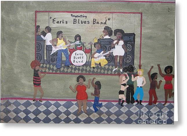 Dance Floor Paintings Greeting Cards - Earls Blues Band Greeting Card by Gregory Davis