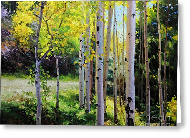 Rocky Mountains Framed Prints Greeting Cards - Early Autumn Aspen Greeting Card by Gary Kim