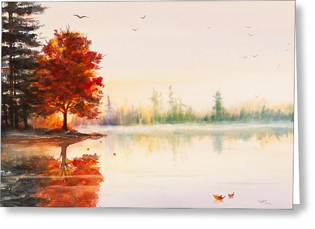 Early Autumn Greeting Cards - Early Autumn Reflections Watercolor Painting Greeting Card by Michelle Wiarda