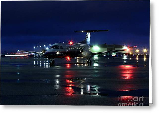 Commuter Plane Greeting Cards - Early Bird Greeting Card by Alex Esguerra