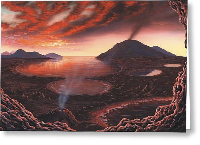 Crater Lake Artwork Greeting Cards - Early Earth, Artwork Greeting Card by Richard Bizley